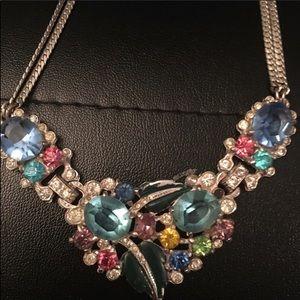 Sorbet Pastel vintage rhinestone embelish necklace